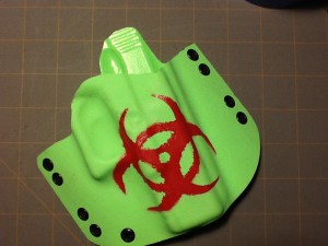 CUSTOM WORK, BIO HAZARD SYMBOL, REVENGE HOLSTER IN ZOMBIE GREEN
